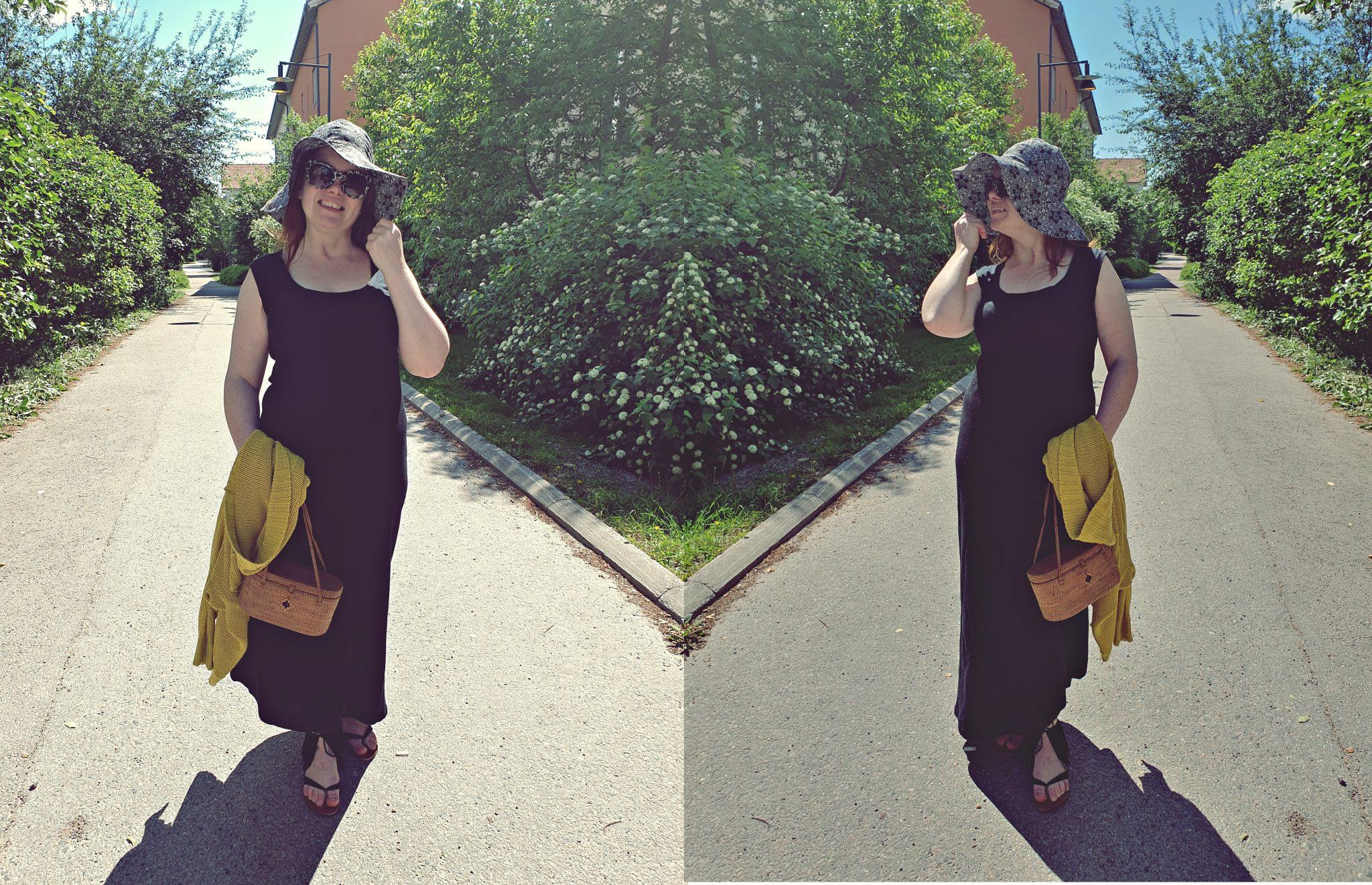 Melissan päivän asuna musta mekko ja kesähattu. Ompelu. Kuka minä olen.